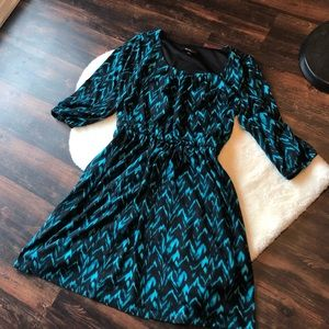 ALYX chevron print blue black a line dress